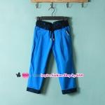 กางเกงแฟชั่นสแลคขาสามส่วนประดับลูกไม้สีฟ้า 2012 Summer Korean women stitching stretch the crimping pant slacks pants