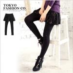 [Preorder] กางเกงเลกกิ้งกระโปรงแฟชั่น สีดำ Onions dot skirt Leggings false two