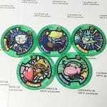 เหรียญ DX Yo-Kai Watch สีเขียว Set 5 เหรียญ ไม่ซ้ำแบบ มือสอง