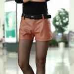 [Preorder] กางเกงหนังแฟชั่นขาสั้นประดับซิปด้านข้าง สีน้ำตาล 2013 spring new Women in leather pants thin waist casual female trousers
