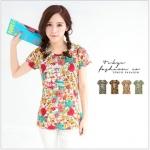 [Preorder] เสื้อแฟชั่นแขนสั้นลายดอกไม้ แบรนด์ Tokyo Fashion สีเบจ Long letters painted flowers cotton