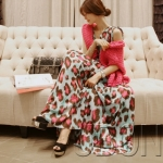 [Preorder] Maxi Dress คอวีลายจุดใหญ่ๆ สีชมพู Korean version of Leopard Long dress 2013 summer new chiffon V-neck Slim was thin