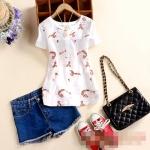 [Preorder] เสื้อแฟชั่นแขนสั้นสไตล์เกาหลี ปักลายเก๋ๆ ลายอินทผลาลัม 2015 summer new women's round neck four buckle embroidery Maple Cherry Slim short-sleeved T-shirt