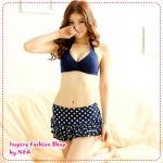 บิกินนี่กระโปรงลายจุดสีน้ำเงิน Printed tie neck bikini two groups Tokyo Fashion 100% (Preorder)