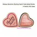 Makeup Revolution Blushing Hearts Triple Baked Blusher - Peachy Pink Kisses สีชมพูพีช หวานๆ 10 g.
