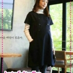[Preorder] เดรสคลุมท้องคุณแม่วัยทำงานสีน้ำเงิน The Korean version of the Maternity spring and summer fashion pregnant women skirt double-breasted pregnant women short-sleeve dress wild temperament models Canglan