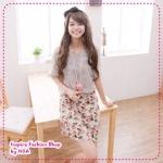 เดรสแขนกุดลายดอกไม้พร้อมเสื้อสีชีฟองตัวนอกแขนตุ๊กตาสีเทาchiffon rose dress two-piece bud sleeve T (Preorder)