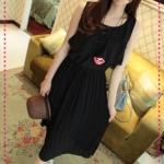 เดรสยาวแขนกุดระบายด้านหน้าสีดำ 2012 summer beach holiday essential! Bloom light Mature Pleated temperament dress (Preorder)