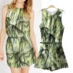 [Preorder] จั๊มสูทแฟชั่นแขนกุดสไตล์ยุโรป ลายต้นไม้สีเขียว (ไซส์ S M L) 2014 summer new European style corset vest ASOS MICN jungle graffiti piece pants shorts pants