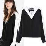 [Preorder] เสื้อแฟชั่นแขนยาวสไตล์ยุโรป คอวี สีดำขาว (ไซส์ S M L) women new autumn and winter 2014 European and American style black and white stitching sleeve V-neck long-sleeved shirt shirts tops