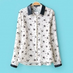 [Preorder] เสื้อเชิ๊ตแฟชั่นแขนยาวสไตล์ยุโรป แบรนด์ ZARA ลายดอกไม้สีขาว Spring 2014 new European and American style retro fight zara leather collar printed long-sleeved shirt shirt female
