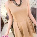 เดรสแขนกุดสีน้ำตาล (ไม่รวมเข็มขัด) Spring and summer of 2012 the big swing of the new women's Europe and the United simple solid color sleeveless vest dress