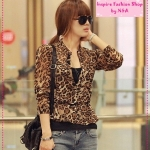 [Preorder] เสื้อเชิ๊ตแขนยาวเสือดาวน่ารักๆ จ้า Leopard personalized design cool wild long-sleeved chiffon shirt