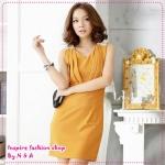 เดรสแฟชั่นแขนกุดสีเหลือง temperament edge of the crimp shoulder beaded waist dress