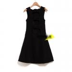 [Preorder] เดรสแฟชั้นแขนกุดข้างหลังประดับโบว์ สีดำ Fall new European and American style of foreign trade of the original single hollow back bow sleeveless vest dress women Slim