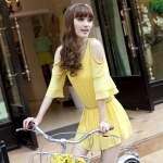 [Preorder] เดรสแฟชั่นแขนสามส่วนระบายพลีทรอบเปิดไหล่ สีเหลือง 2013 spring and summer chiffon dress Korean version of sweet loose pleated strapless flounced sleeve fashion