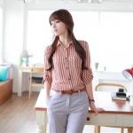 Chu ViVi เสื้อผ้าแฟชั่นเกาหลี แขนยาวคอปกลายริ้วสีแดง-ขาว