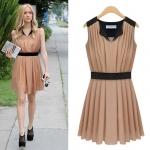 [Preorder] เดรสแฟชั่นแขนกุดสไตล์ยุโรปพลีทรอบ (ไซส์ S - XL) สีชมพูน้ำตาล 2013 summer new European and American big yards ladies dress was thin commuter sleeveless chiffon dress skirt summer skirt