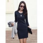 [Preorder] เดรสทำงานแฟชั่นแขนยาวเข้ารูปสีน้ำเงิน (ไซส์ S - ไซส์ XXL) 2014 Spring and Autumn new Korean version was thin long-sleeved base skirt big yards temperament Slim dress