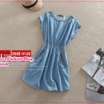 เดรสยีนส์แขนสั้นกระเป๋ามีซิปรูดสีฟ้า Summer new original single temperament cotton soft denim skirt bat sleeve round neck dress summer