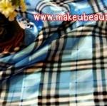 ผ้าพันคอ ผ้าคลุมไหล่พิมพ์ลาย : ลายบลูเบอรรี่สีฟ้า