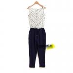 [Preorder] จั๊มสูทแฟชั่นแขนกุดขายาวลายจุด แบรนด์ Lily สีขาวน้ำเงิน 2013 summer new European LILY same style wave point stitching strap piece pants harem pants jumpsuit pantyhose