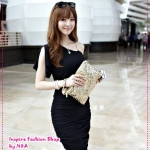 [Preorder] เดรสแฟชั่นป้ายไหล่ สีดำ 2012 new oblique sling folds closed pockets hip sexy dress Slim Dress