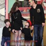 ชุดครอบครัว เสื้อครอบครัว พ่อลูกเสื้อแขนยาวคอวี สีดำ แม่เดรสสั้น สีดำ ลายเสือ (ราคา 3 ตัว พ่อ แม่ ลูกชาย) - pre order