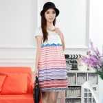 [Preorder] เดรสคลุมท้องแฟชั่นแขนสั้นลายขวาง สีชมพู Korean version of the new 2013 summer clothes Maternity fashion pregnant women skirt pregnant women dress sub summer lace crochet collar