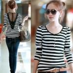 [Preorder] เสื้อแฟชั่นแขนยาวลายขวางด้านหลังเป็นผ้าโปร่ง สีขาวดำ 2012 Hitz round neck Slim striped long-sleeved long T-shirt