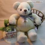 ตุ๊กตาหมีผ้าขนสั้นสีครีมขนาด 23 cm. - Niza M size