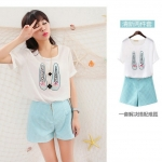 [Preorder] เซ็ทเสื้อยืดแขนสั้นลายรองเท้า + กางเกงขาสั้นสีฟ้า (ไซส์ S M L XL) summer 2014 Korean women short-sleeved chiffon shirt blouse Polka Dot Shorts shoeprint piece fitted T-shirt