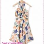 เดรสแฟชั่นผูกคอลายดอกไม้ LILY counters with section 2012 of the new Europe and the United States women halter straps chiffon dress