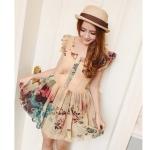 [Preorder] เดรสแฟชั่นแขนสั้นระบายสกรีนลายดอกไม้เก๋ๆ สี Apricot 2013 summer new single-breasted lace short-sleeved round neck pleated dress skirt big flower