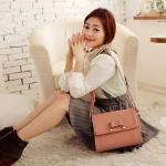 [Preorder] กระเป่าสะพายข้างสไตล์ Retro ประดับโบว์เก๋ๆ สีชมพู Korean version of the new wave of female temperament bow crusty Shoulder Messenger bag woman bag Post