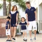 ชุดครอบครัว เสื้อครอบครัวผ้ายืด ชายคอปก หญิงเดรสสั้น ตัดต่อผ้าลายจุด สีกรมท่า (ราคา 3 ตัว พ่อ แม่ ลูกชาย) - pre order