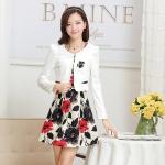 [Preorder] เดรสทำงานแฟชั่นแขนกุดลายดอกไม้สีดำแดง + เสื้อคลุมเก๋ๆแขนยาว (ไซส์ M L XL XXL 3XL) Genuine early fall 2014 new big yards long sleeve skirt suit vest printed dress two-piece suit jacket