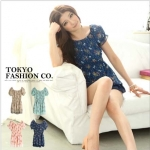[Preorder] เสื้อแฟชั่นแขนสั้นตุ๊กตาลายดอก สีน้ำเงิน แบรนด์ Tokyo Fashion ของแท้ 100% Printed waist Figure Punta sleeves, chiffon blouse