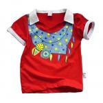 (มี S, M) เสื้อผ้าเด็ก แบบเสื้อโปโล ลายผ้าพันคอ ใส่แล้วเด่นเลย สีแดง