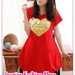 เดรสคลุมท้องแขนสั้น Love Love สีแดง 2012 New Maternity summer Korean love irregular hem dress pregnant women dress