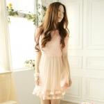 [Preorder] เดรสออกงานเก๋ๆ แขนสามส่วนกระโปรงบานสีชมพู (มีซับใน) Hollow fence stitching gauze dress