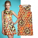 [Preorder] เดรสแฟชั่นแขนกุดสไตล์ยุโรป สกรีนลายสีสดใส (Size S M L) 2014 summer new European and American big station ladies fashion geometric print dress vest dress three-dimensional pattern