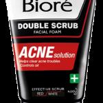 Men's Biore Double Scrub Facial Foam ACNE Solution (เมนส์บิโอเร ดับเบิ้ล สครับ เฟเชี่ยล โฟม แอคเน่ โซลูชั่น)