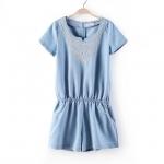 [Preorder] จั๊มสูทแฟชั่นแขนสั้น ปักลวดลายเก๋ๆ สีฟ้า (ไซส์ S M L) 2014 summer women new Japanese small fresh flower embroidery College padded denim shorts and short-sleeved female Siamese