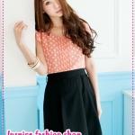 เดรสแขนสั้นลายจุด Little bit of lace stitching dress Tokyo Fashion 100%