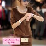 [Preorder] เดรสแขนยาวมาพร้อมเข็มขัดเก๋สีน้ำตาล 2012 New autumn and winter the details of solid color round neck Slim long-sleeved dress rabbit fur collar with waist