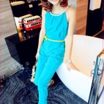 จั๊มสูทขายาวประดับด้วยไข่มุกที่คอ bright color fashion diamond stitching fit cut piece pants (Free Belt)