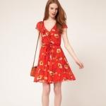 [Preorder] เดรสแฟชั่นแบรนด์ ASOS แขนสั้นลายดอกไม้ สีแดงส้ม 2013 asos counters the same paragraph European style new European and American style print chiffon dress V-neck sleeveless vest, skirt