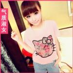 Qzsn เสื้อแฟชั่นสีชมพูพิมพ์หน้าคิตตี้ลายดอกไม้ ปักลูกปัดยาวที่โบว์