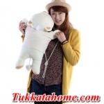 ตุ๊กตาหมีขี้อายหัวฟู นอนหลับหางเป็นรูปหัวใจ เสื้อลายสีน้ำตาล ขนาด 48 CM